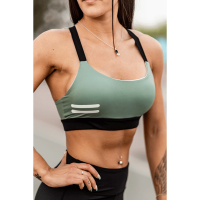 Bar layered workout bra military / black
